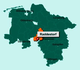 Der Lageplan von 31604 Raddestorf zeigt die Position im Landkreis Nienburg/Weser - Der Ort liegt im Bundesland Niedersachsen