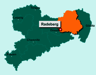 Die Karte von Radeberg zeigt die Lage im Landkreis Bautzen - Der Ort 01454 Radeberg liegt im Bundesland Sachsen