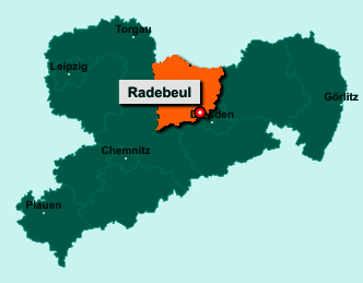 Der Lageplan von 01445 Radebeul zeigt die Position im Landkreis Meißen - Der Ort liegt im Bundesland Sachsen