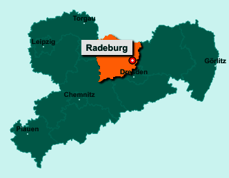 Die Karte von Radeburg zeigt die Lage im Landkreis Meißen - Der Ort 01471 Radeburg liegt im Bundesland Sachsen