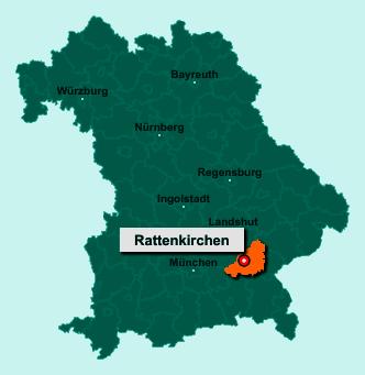 Die Karte von Rattenkirchen zeigt die Lage im Landkreis Mühldorf am Inn - Der Ort 84431 Rattenkirchen liegt im Bundesland Bayern