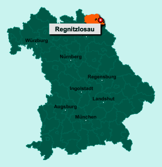 Der Lageplan von 95194 Regnitzlosau zeigt die Position im Landkreis Hof - Der Ort liegt im Bundesland Bayern