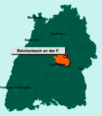 Die Karte von Reichenbach an der Fils zeigt die Lage im Landkreis Esslingen - Der Ort 73262 Reichenbach an der Fils liegt im Bundesland Baden-Württemberg