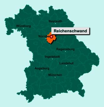 Die Karte von Reichenschwand zeigt die Lage im Landkreis Nürnberger Land - Der Ort 91244 Reichenschwand liegt im Bundesland Bayern