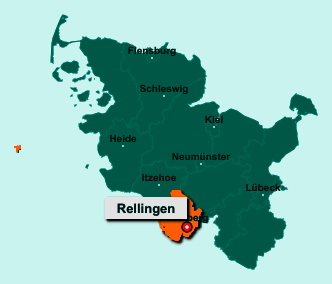 Der Lageplan von 25462 Rellingen zeigt die Position im Kreis Pinneberg - Der Ort liegt im Bundesland Schleswig-Holstein