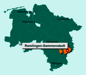 Der Lageplan von Remlingen-Semmenstedt zeigt die Position im Landkreis Wolfenbüttel - Der Ort liegt im Bundesland Niedersachsen