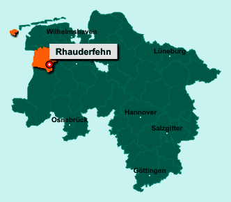 Die Karte von Rhauderfehn zeigt die Lage im Landkreis Leer - Der Ort 26817 Rhauderfehn liegt im Bundesland Niedersachsen