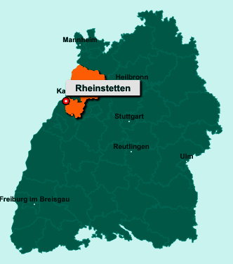 Der Lageplan von 76287 Rheinstetten zeigt die Position im Landkreis Karlsruhe - Der Ort liegt im Bundesland Baden-Württemberg