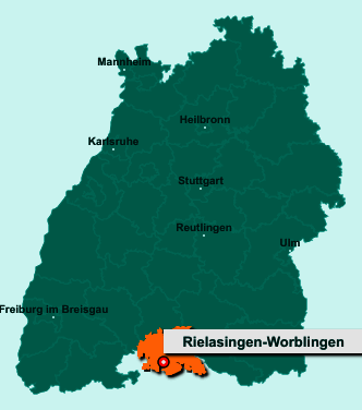 Der Lageplan von 78239 Rielasingen-Worblingen zeigt die Position im Landkreis Konstanz - Der Ort liegt im Bundesland Baden-Württemberg