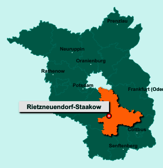 Der Lageplan von 15910 Rietzneuendorf-Staakow zeigt die Position im Landkreis Dahme-Spreewald - Der Ort liegt im Bundesland Brandenburg