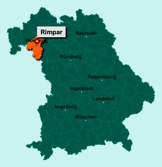 Die Karte von Rimpar zeigt die Lage im Landkreis Würzburg - Der Ort 97222 Rimpar liegt im Bundesland Bayern
