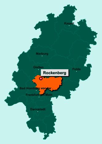 Die Karte von Rockenberg zeigt die Lage im Wetteraukreis - Der Ort 35519 Rockenberg liegt im Bundesland Hessen