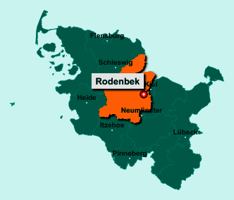Der Lageplan von 24247 Rodenbek zeigt die Position im Kreis Rendsburg-Eckernförde - Der Ort liegt im Bundesland Schleswig-Holstein