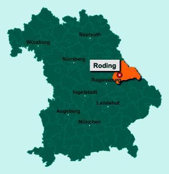Der Lageplan von 93426 Roding zeigt die Position im Landkreis Cham - Der Ort liegt im Bundesland Bayern