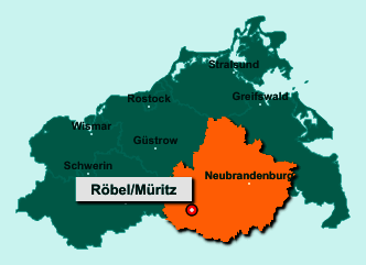 Der Lageplan von 17207 Röbel/Müritz zeigt die Position im Landkreis Mecklenburgische Seenplatte - Der Ort liegt im Bundesland Mecklenburg-Vorpommern
