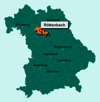 Der Lageplan von 91341 Röttenbach zeigt die Position im Landkreis Erlangen-Höchstadt - Der Ort liegt im Bundesland Bayern