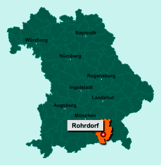 Die Karte von Rohrdorf zeigt die Lage im Landkreis Rosenheim - Der Ort 83101 Rohrdorf liegt im Bundesland Bayern