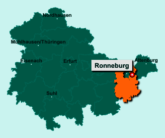 Der Lageplan von 07580 Ronneburg zeigt die Position im Landkreis Greiz - Der Ort liegt im Bundesland Thüringen