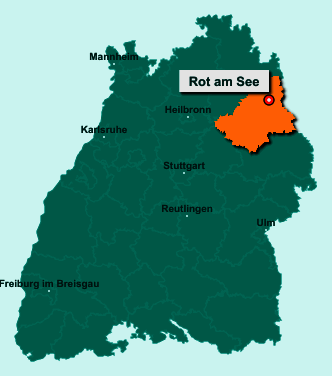 Der Lageplan von 74585 Rot am See zeigt die Position im Landkreis Schwäbisch Hall - Der Ort liegt im Bundesland Baden-Württemberg