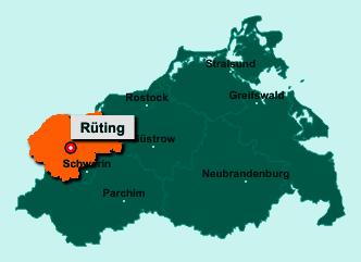 Die Karte von Rüting zeigt die Lage im Landkreis Nordwestmecklenburg - Der Ort 23936 Rüting liegt im Bundesland Mecklenburg-Vorpommern