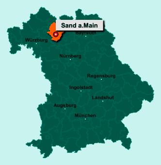 Der Lageplan von 97522 Sand a.Main zeigt die Position im Landkreis Haßberge - Der Ort liegt im Bundesland Bayern