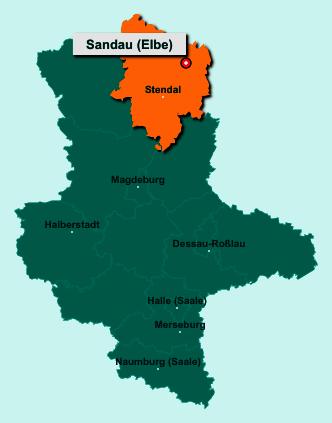 Die Karte von Sandau (Elbe) zeigt die Lage im Landkreis Stendal - Der Ort 39524 Sandau (Elbe) liegt im Bundesland Sachsen-Anhalt