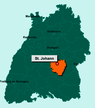 Der Lageplan von 72813 St. Johann zeigt die Position im Landkreis Reutlingen - Der Ort liegt im Bundesland Baden-Württemberg