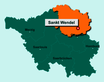 Der Lageplan von 66606 Sankt Wendel zeigt die Position im Landkreis St. Wendel - Der Ort liegt im Bundesland Saarland