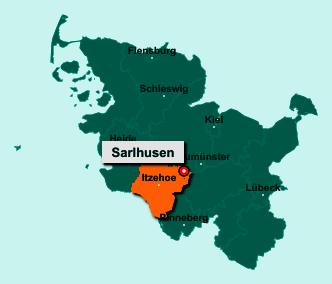 Die Karte von Sarlhusen zeigt die Lage im Kreis Steinburg - Der Ort 24616 Sarlhusen liegt im Bundesland Schleswig-Holstein