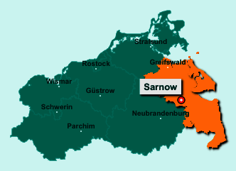 Der Lageplan von 17392 Sarnow zeigt die Position im Landkreis Vorpommern-Greifswald - Der Ort liegt im Bundesland Mecklenburg-Vorpommern