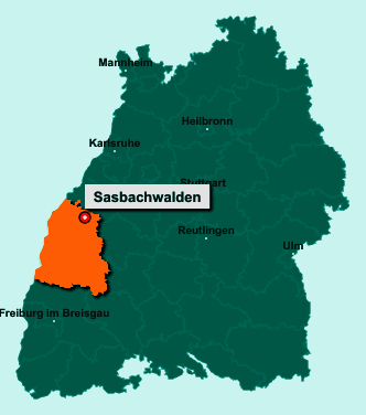 Die Karte von Sasbachwalden zeigt die Lage im Ortenaukreis - Der Ort 77887 Sasbachwalden liegt im Bundesland Baden-Württemberg