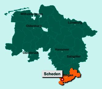 Der Lageplan von 37127 Scheden zeigt die Position im Landkreis Göttingen - Der Ort liegt im Bundesland Niedersachsen