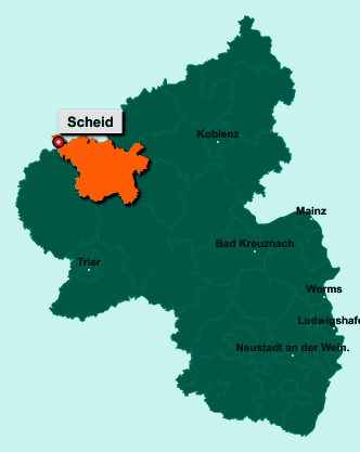 Die Karte von Scheid zeigt die Lage im Landkreis Vulkaneifel - Der Ort 54611 Scheid liegt im Bundesland Rheinland-Pfalz
