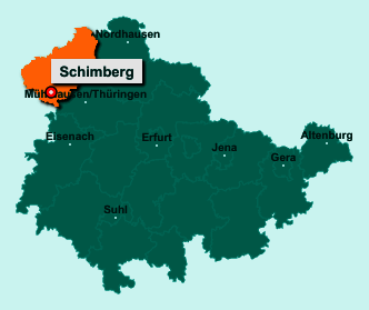 Die Karte von Schimberg zeigt die Lage im Landkreis Eichsfeld - Der Ort 37308 Schimberg liegt im Bundesland Thüringen