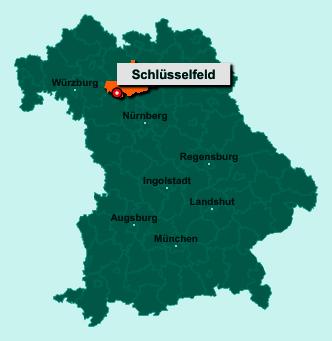 Der Lageplan von 96132 Schlüsselfeld zeigt die Position im Landkreis Bamberg - Der Ort liegt im Bundesland Bayern