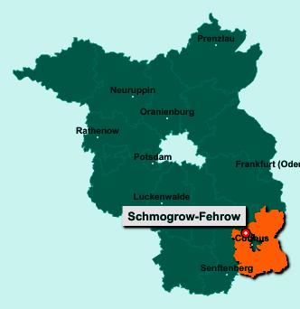 Der Lageplan von 03096 Schmogrow-Fehrow zeigt die Position im Landkreis Spree-Neiße - Der Ort liegt im Bundesland Brandenburg