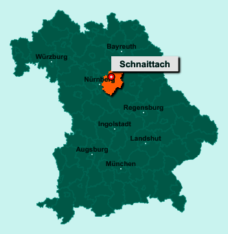 Der Lageplan von 91220 Schnaittach zeigt die Position im Landkreis Nürnberger Land - Der Ort liegt im Bundesland Bayern