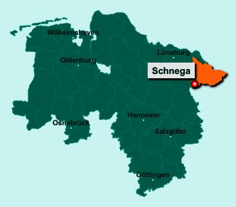 Die Karte von Schnega zeigt die Lage im Landkreis Lüchow-Dannenberg - Der Ort 29465 Schnega liegt im Bundesland Niedersachsen