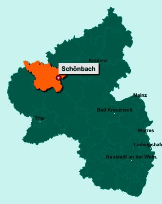 Der Lageplan von 54552 Schönbach zeigt die Position im Landkreis Vulkaneifel - Der Ort liegt im Bundesland Rheinland-Pfalz