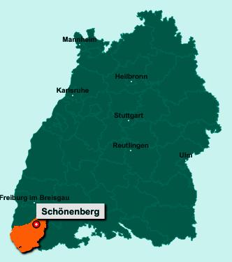 Die Karte von Schönenberg zeigt die Lage im Landkreis Lörrach - Der Ort 79677 Schönenberg liegt im Bundesland Baden-Württemberg