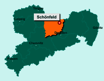 Der Lageplan von 01561 Schönfeld zeigt die Position im Landkreis Meißen - Der Ort liegt im Bundesland Sachsen