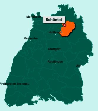 Der Lageplan von 74214 Schöntal zeigt die Position im Hohenlohekreis - Der Ort liegt im Bundesland Baden-Württemberg