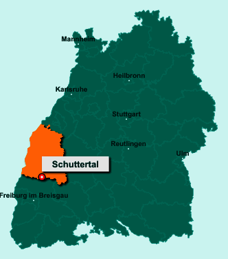 Die Karte von Schuttertal zeigt die Lage im Ortenaukreis - Der Ort 77978 Schuttertal liegt im Bundesland Baden-Württemberg