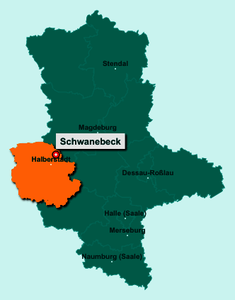 Die Karte von Schwanebeck zeigt die Lage im Landkreis Harz - Der Ort 39397 Schwanebeck liegt im Bundesland Sachsen-Anhalt