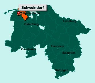 Die Karte von Schweindorf zeigt die Lage im Landkreis Wittmund - Der Ort 26556 Schweindorf liegt im Bundesland Niedersachsen
