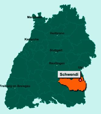 Die Karte von Schwendi zeigt die Lage im Landkreis Biberach - Der Ort 88477 Schwendi liegt im Bundesland Baden-Württemberg