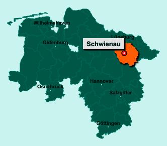 Der Lageplan von 29593 Schwienau zeigt die Position im Landkreis Uelzen - Der Ort liegt im Bundesland Niedersachsen