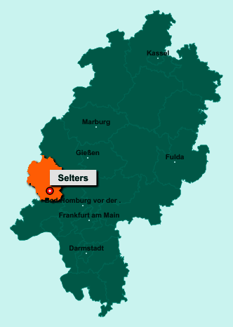 Die Karte von Selters zeigt die Lage im Landkreis Limburg-Weilburg - Der Ort 65618 Selters liegt im Bundesland Hessen