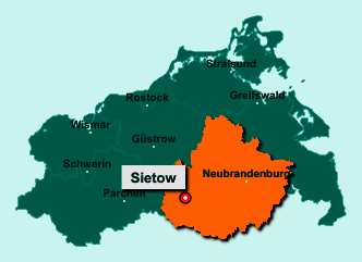 Der Lageplan von 17209 Sietow zeigt die Position im Landkreis Mecklenburgische Seenplatte - Der Ort liegt im Bundesland Mecklenburg-Vorpommern