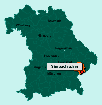 Die Karte von Simbach a.Inn zeigt die Lage im Landkreis Rottal-Inn - Der Ort 84359 Simbach a.Inn liegt im Bundesland Bayern